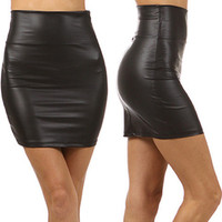 Liquid High Waist Black Faux Leather Mini Skirt Vinyl from Milly Kate