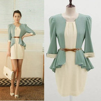 Half Sleeve Two-piece chiffon Shirt + Dress