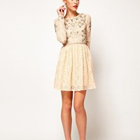 ASOS Lace Skater Dress With Crystal Embellishment at asos.com