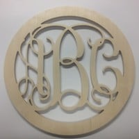 24 inch Connected Wooden Vine Monogram - Circle Border unpainted