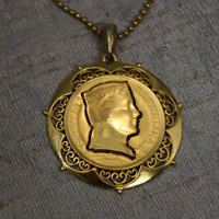 Vintage Latvian Gold Coin Cameo Silhouette Cut Out with Filigree Setting