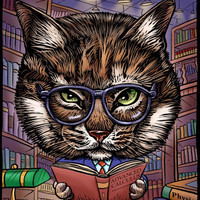 Smarty Cat by ChetArt on Etsy