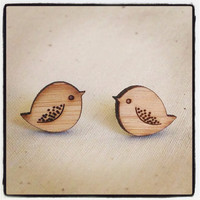 Bird earrings - wooden eco friendly wood bird studs earrings
