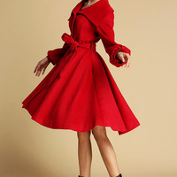 Red wool shawl collar coat  (335)