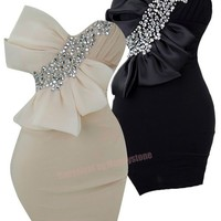 V Neck Slim Fit Padded Bow Embellished Strapless Party Dresses S M L 16