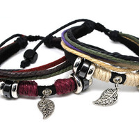 couple bracelet 2 color leather bracelet women Leather Bracelet Men leather bracelet  QLA0483