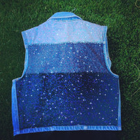 Ombre Galaxy Nebula Vintage Denim Jacket Size Small