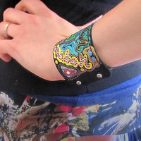 "Leather bracelet, hand painted ""Graffiti"""