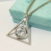 Harry Potter Necklace Deathly Hallows by HandmadeJewelry88 on Etsy