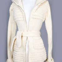 1970's Natural Irish Wool Hooded Sweater Jacket - M :