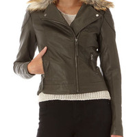 Khaki detachable fur collar biker