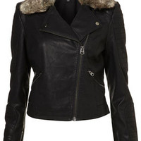 Fur Collar Quilted Biker Jacket