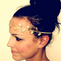 Gold Leaf Headband Fabric Leaf Grecian Headband
