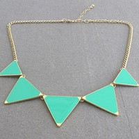 European Enamel Triangle Bib Necklace Tribal Spike Geometric Choker Green NK0