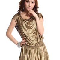 Modern Bright Juniors Golden Pile Collar Skinny Dresses : Wholesaleclothing4u.com