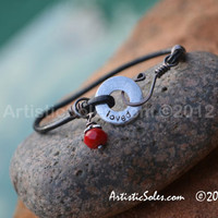 Metal Stamped Loved Bracelet