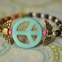 Winged Heart &amp; Howlite Peace Sign Stretch Bracelet