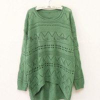 Dark Green Curved Hum Knit Holey Texture Long Sweater