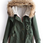 Free Shipping Green Fur Hooded Long Sleeve Drawstring Pockets Coat