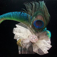 Peacock Feather Fascinator Wedding Fascinator Peacock by Parisxox