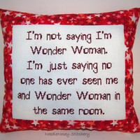 Funny Cross Stitch Pillow, Red Pillow, Girl Power Quote
