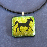 Horse Necklace, Gold Dichroic Horse Pendant, Horse Jewelry - Mr Gallop - 4062 -3
