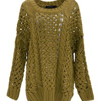 *Free Shipping*Green Women One Size Sweater T963 from MaxNina