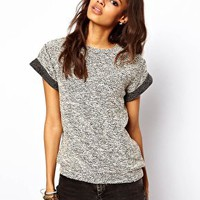 ASOS Knitted Tee With Rolled Sleeves at asos.com