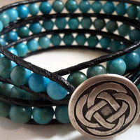 Celtic knot / Turquoise jasper beaded black leather wrap bracelet