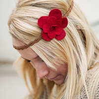 Adorable Red Felt Flower Pin