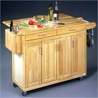 Home Styles Furniture Kitchen Cart with Breakfast Bar in Natural Finish - 5023-95