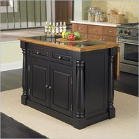 Home Styles Monarch Roll-Out Leg Granite Top Kitchen Island in Black and Oak - 5009-94