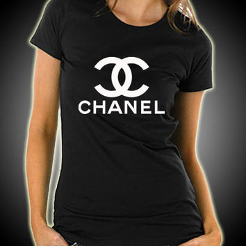 New Chanel Logo Women Black T Shirt Tee From Kingclothing