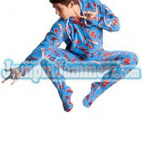 Spiderman - Marvel Comics - Pajamas Footie PJs Onesuit One Piece Adult Pajamas