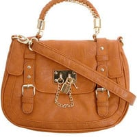 Tan chain padlock satchel - Handbags & Purses - Accessories - Dorothy Perkins