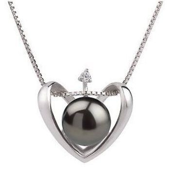 PearlsOnly Heart Black 9-10mm AA Freshwater Sterling Silver Pearl Pendant