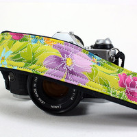 Floral dSLR Camera Strap, Spring Flowers, Green, Pink, Purple, Lime , SLR