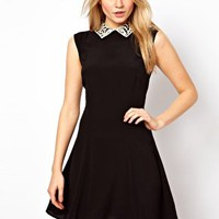 ASOS Sleeveless Dress with Contrast Crochet Collar at asos.com