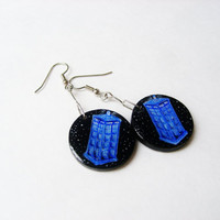 Dr Who Jewelry  - Tardis Dangle Earrings Lightweight Wooden Dangles Earring Doctor Who Merchandise, Wearable Art Tardis Jewellery