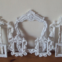 ANY COLOR Picture Frames 9 Vintage Inspired Open Frames Wall Art Cottage White Gallery Frames Grouping Ornate Romantic Cottage Collection