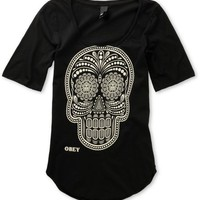 Obey Girls Day of the Dead Black Dance Tee Shirt at Zumiez : PDP