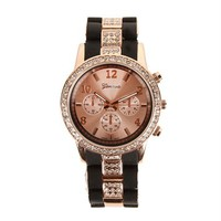 Black/Rose Gold Two Tone Rhinestone Watch