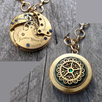Clockpunk Steampunk Antique Reversible Pendant Necklace, Brass Antique Illinois Pocket Watch Movement, Vintage Filigree Pendan