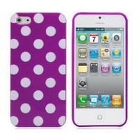 Amazon.com: Purple TPU Polka Dot Rubber Skin Case Cover for New Apple iPhone 5 5G 5th: Cell Phones & Accessories
