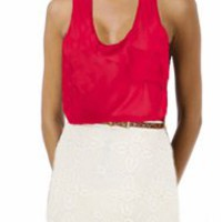 Wine Chiffon Tank- Casual Tops- Tanks