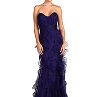 Badgley Mischka Strapless Ruffle Skirt Gown Blueberry - Zappos.com Free Shipping BOTH Ways