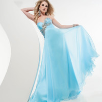 Jasz Couture 2013 Prom - Sky Blue Strapless Gown - Unique Vintage - Cocktail, Pinup, Holiday & Prom Dresses.