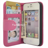 Rose Leather Wallet Flip Hard Case Cover For Apple iPhone 4 4S Screen Protector