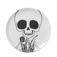 Cute Skeleton dinner plate Let&#x27;s Eat &quot;Hungry Ghost&quot;
