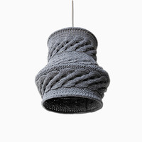 Cable Knit Lampshade LUUKA / Pendant Light  / Unique Knitted Home Decor  / Hanging Shade - Gray